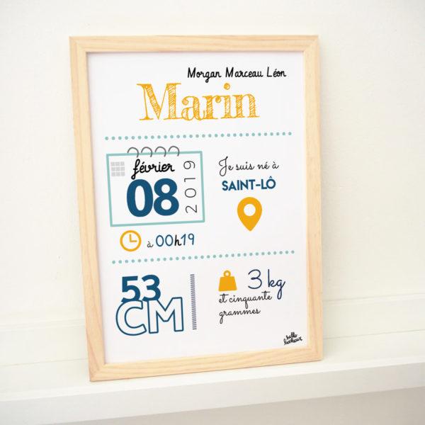 marin naissance bébé cadre affiche naissance jaune bleu