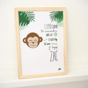 affiche naissance cadre singe jungle zac