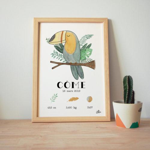 Toucan cadre naissance bébé affiche aquarelle cadeau