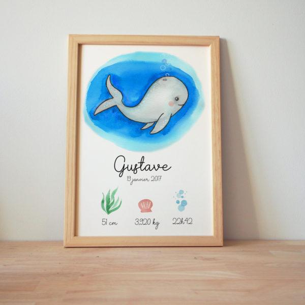 affiche naissance baleine aquarelle
