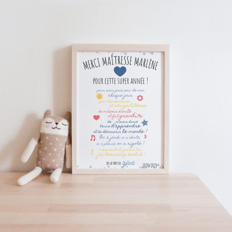 Cadeau maitresse fin d'année - affiche texte maitresse personnalisé - Cadre maitresse