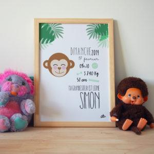 cadre naissance personnalisé simon singe jungle ambiance déco jungle chambre bébé