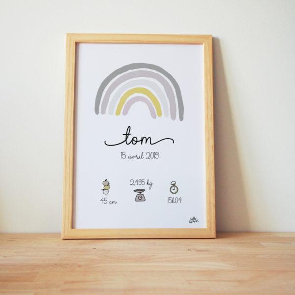affiche bébé naissance jaune gris arc-en-ciel cadre personnalisé