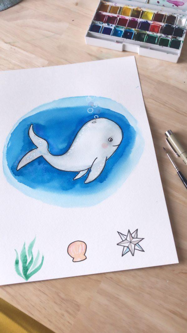peinture aquarelle watercolor cloud creativité sur-mesure personnalisation personnalisée baleine