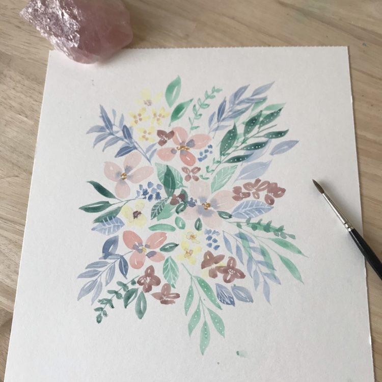 tableau aquarelle sur-mesure personnalisé fleurs bouquet couleurs hello bonheur