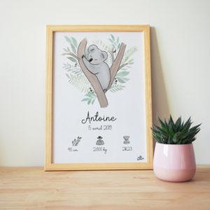 Jolie Cadre de Naissance personnalisé réalisé à l'aquarelle - idée cadeau de naissance - Illustration Koala
