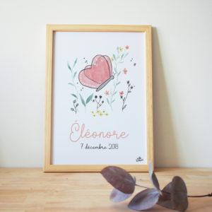 Tableau de naissance aquarelle papillon personnalisé