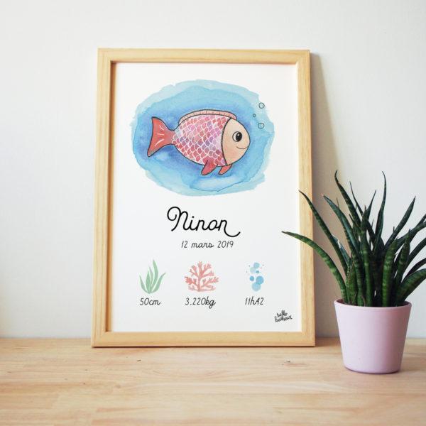 affiche naissance poisson aquarelle personnalisée cadre cadeau bébé
