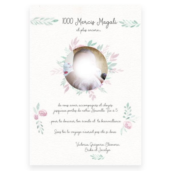 affiche cadeau cadre dage-femme doula personnalisée texte aquarelle remercier