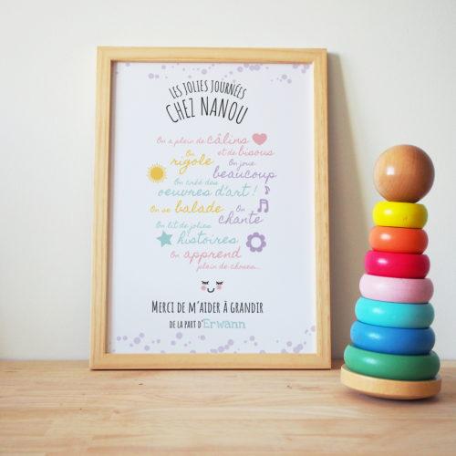 affiche nounou cadeau original personnalisé - idée cadeau assistante maternelle merci de m'avoir aidé à grandir