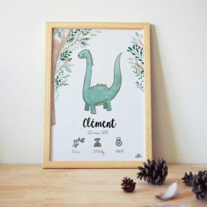 cadre de naissance personnalisé dino dinosaure aquarelle prénom taille poids date heure
