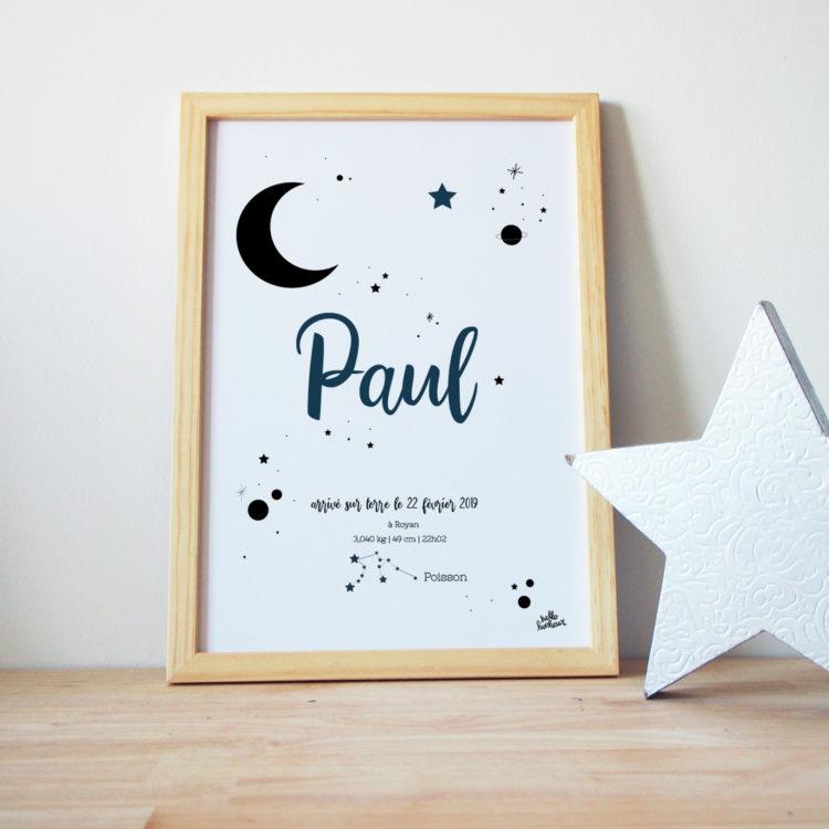 affiche ou cadre naissance personnalisé avec votre texte et la couleurs de votre choix - lune étoile signe astrlogique