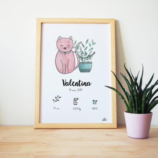 affiche naissance personnalisée aquarelle