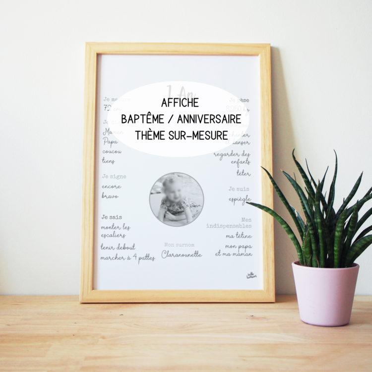 Affiche baptême anniversaire enfant personnalisée thème sur-mesure