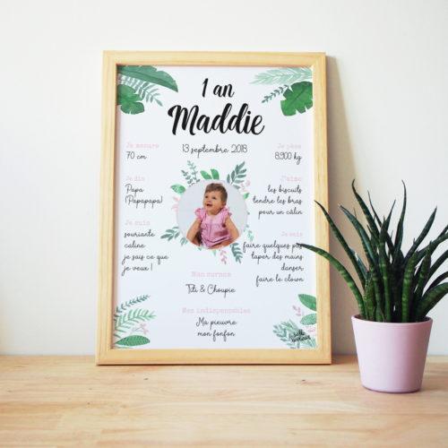 Affiche anniversaire 1 an baptême jungle rose Maddie Hello Bonheur
