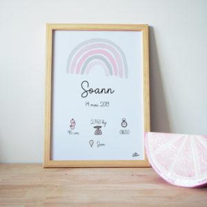 affiche personnalisée de naissace arc-en-ciel rose et gris