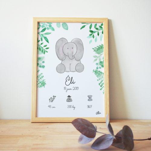 affiche naissance aquarelle elephant