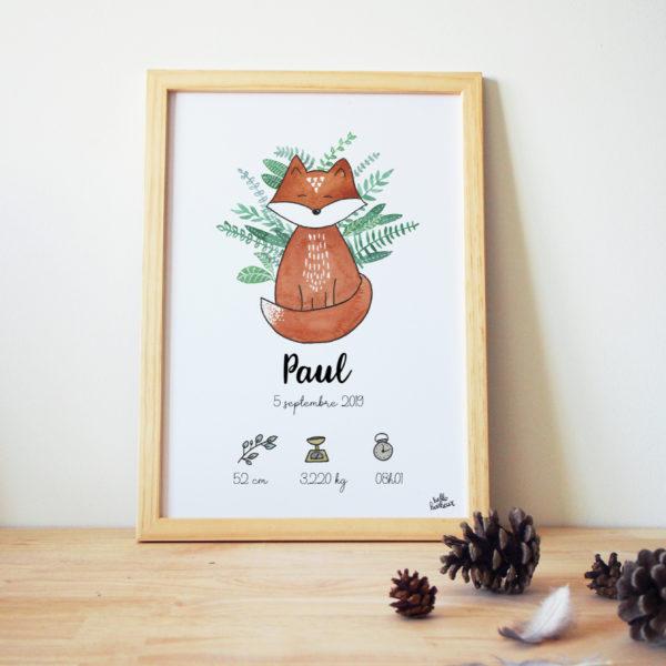 Affiche naissance aquarelle renard forêt