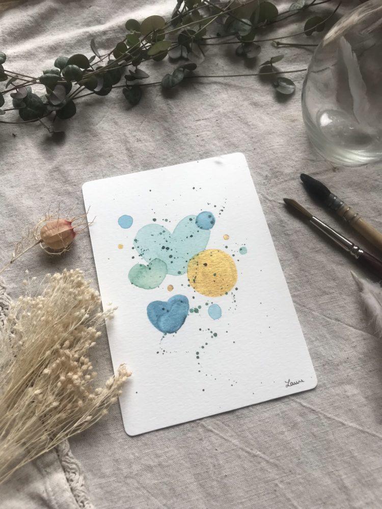 summer bubbles carte postale aquarelle