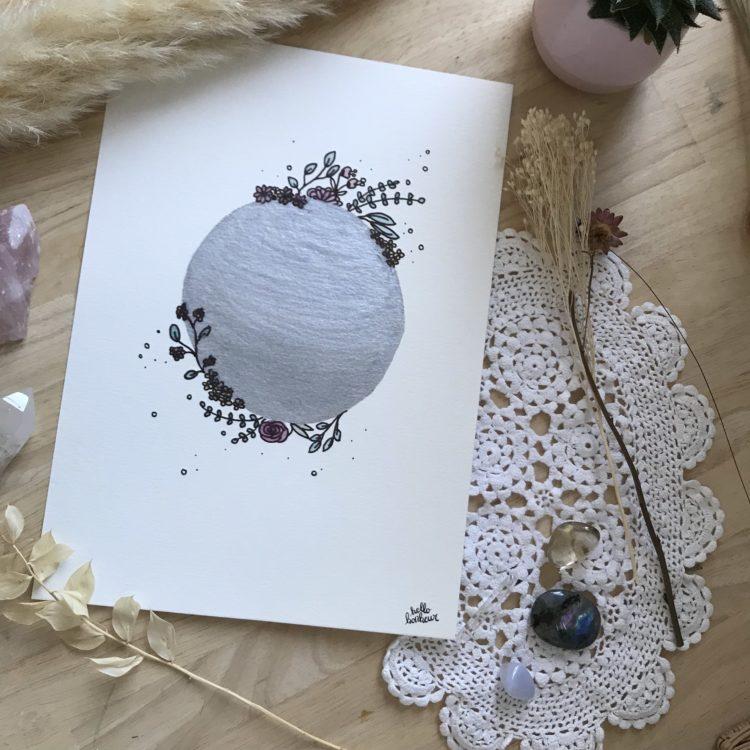 Affiche Aquarelle Floral moon