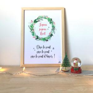 Affiche de Noël Vive le vent couronne aquarelle