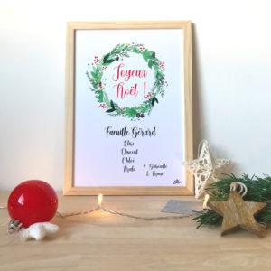 Affiche Couronne de Noël Aquarelle Famille prénom