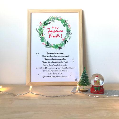 Affiche to do list de Noel couronne aquarelle