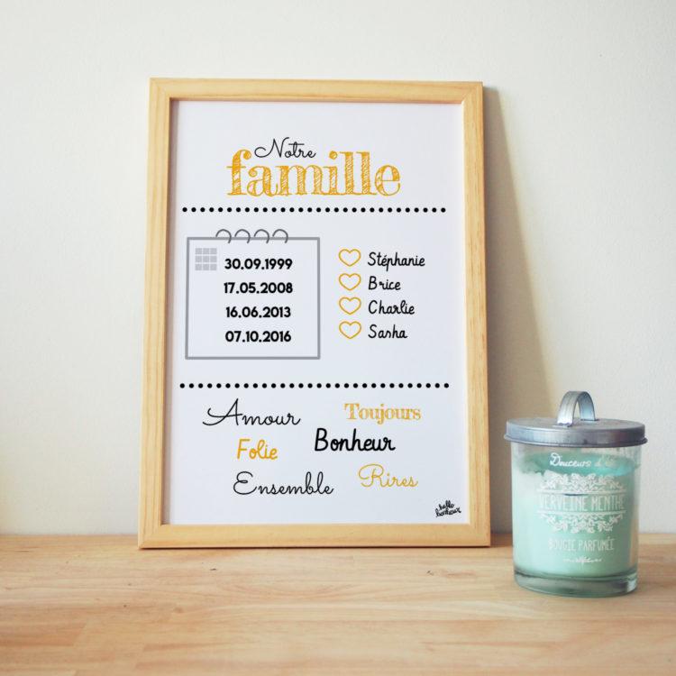 affiche famille personnalisé texte et couleurs