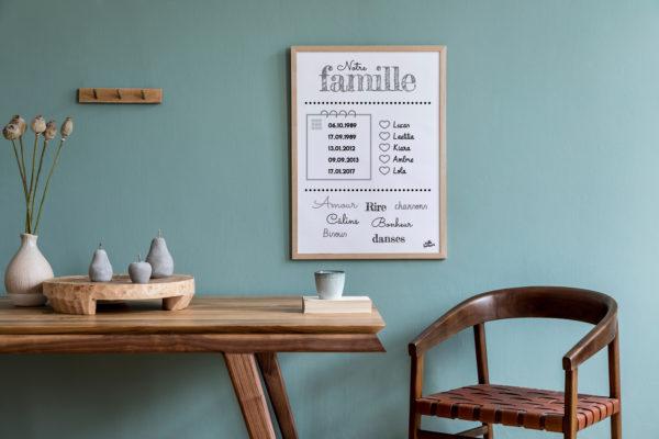 Affiche famille personnalisée hello bonheur prénoms dates mots valeurs nom de famille Happy Family