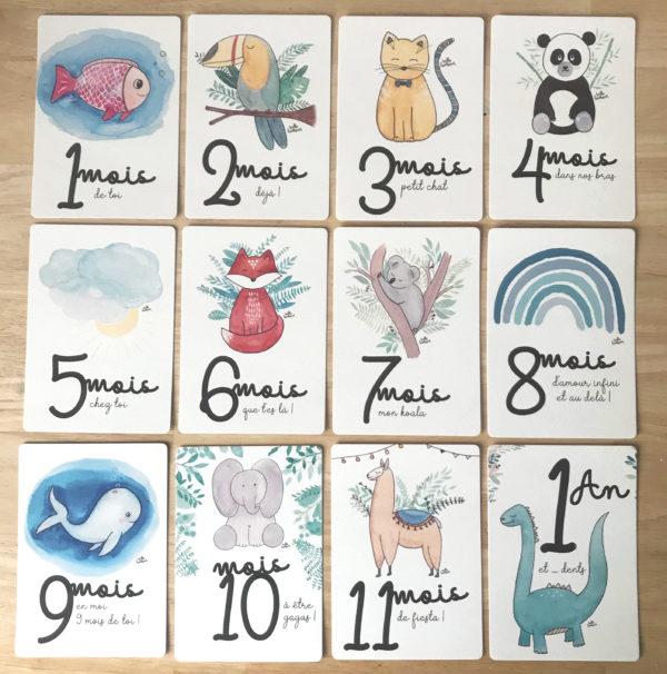 cartes étapes bébé animaux aquarelle hello bonheur