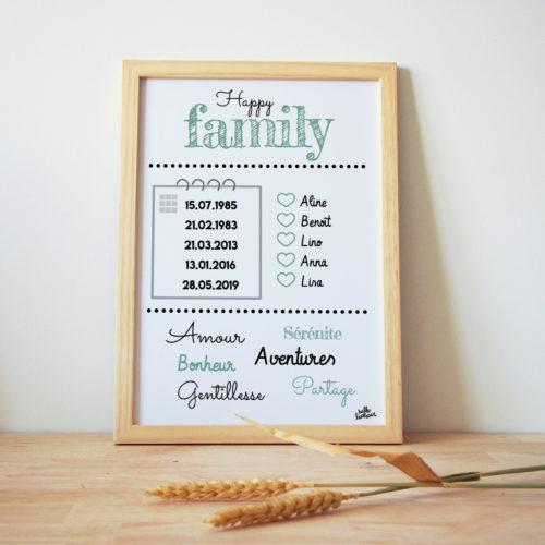 Affiche personnalisée sur mesure faille cadre tableau de famille