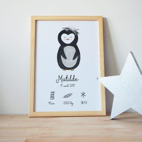 Cadre de naissance pingouin personnalisé banquise affiche déco enfant bébé