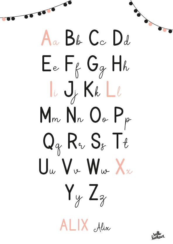 affiche alphabet alix rose pêche