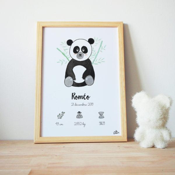 affiche naissance personnalisée panda aquarelle
