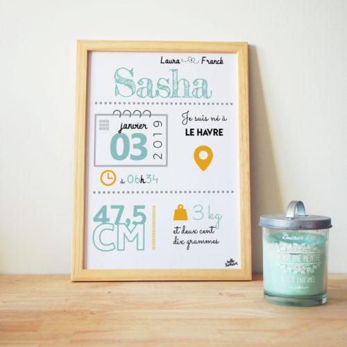 affiche naissance cadre personnalisé bébé moutarde vert d'eau déco chambre bébé