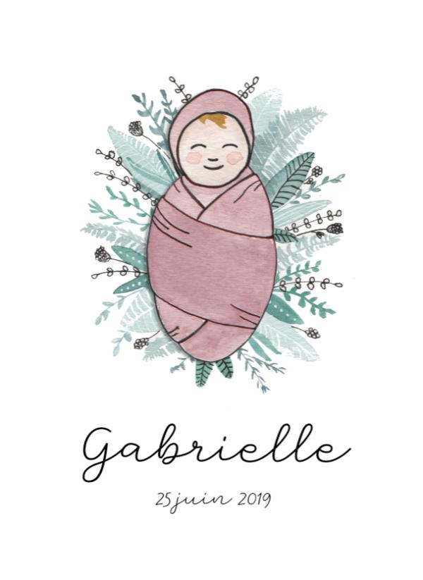Faire-part naissance illustration personnalisée illustratrice sur-mesure portrait bébé