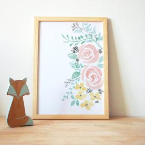 Aquarelle fleurs foliage flowers enfant affiche créatrice peinture bébé