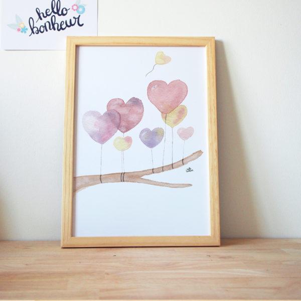cadre aquarelle chambre bébé fille ballons coeurs violet rose jaune