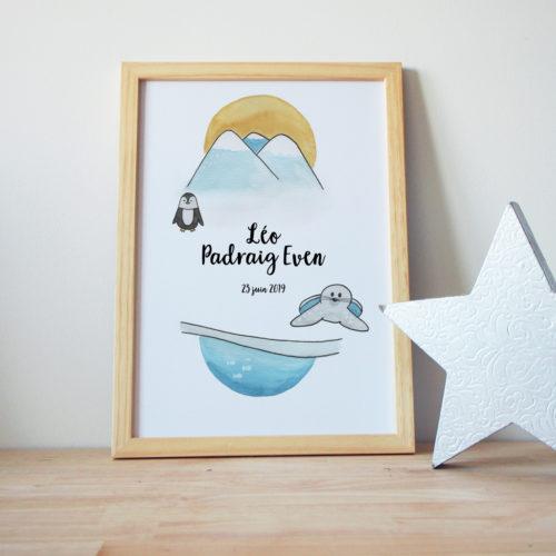 Affiche naissance aquarelle banquise phoque pingouin