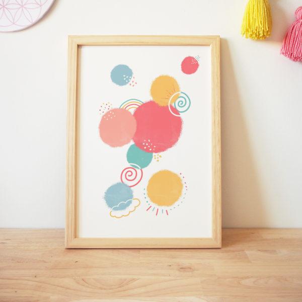 Art graphique coloré hello bonheur bulles good mood galaxy