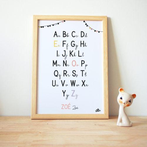 Affiche Alphabets enfants prénom lettre capitales cursives colorées personnalisée personnalisable