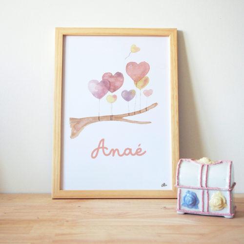 Affiche Aquarelle arbre au ballons personnalisée prénom affiche bébé personnalisée rose violet jaune