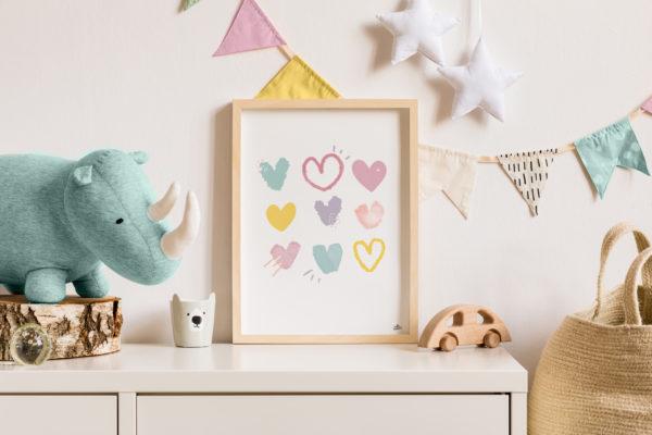coeurs en fête affiche chambre enfants graphisme original cadeau naissance original idées déco chambre enfant