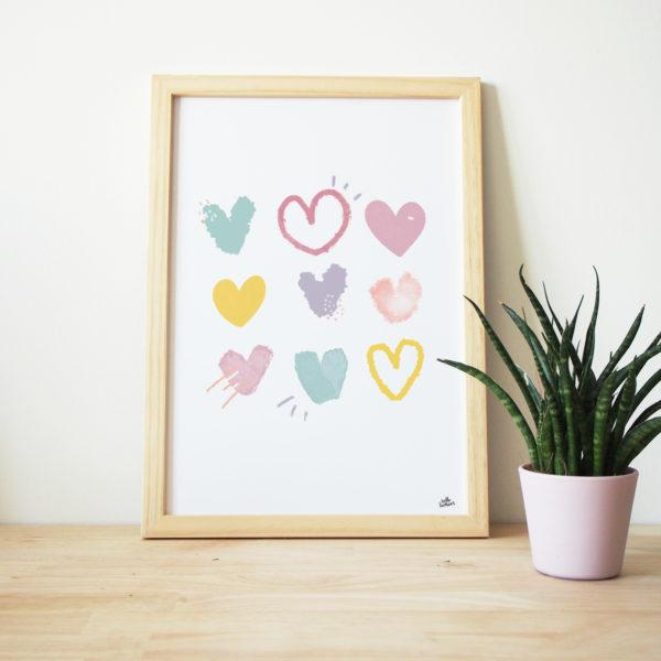 coeurs en fêtes graphisme affiche hell bonheur floral garden affiche déco cadre enfant joie légereté couleurs