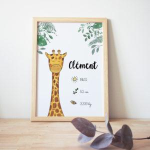 cadre naissance aquarelle girafe
