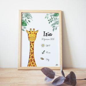Affiche naissance aquarelle girafe cadre de naissance tableau bébé jungle prénom date taille poids