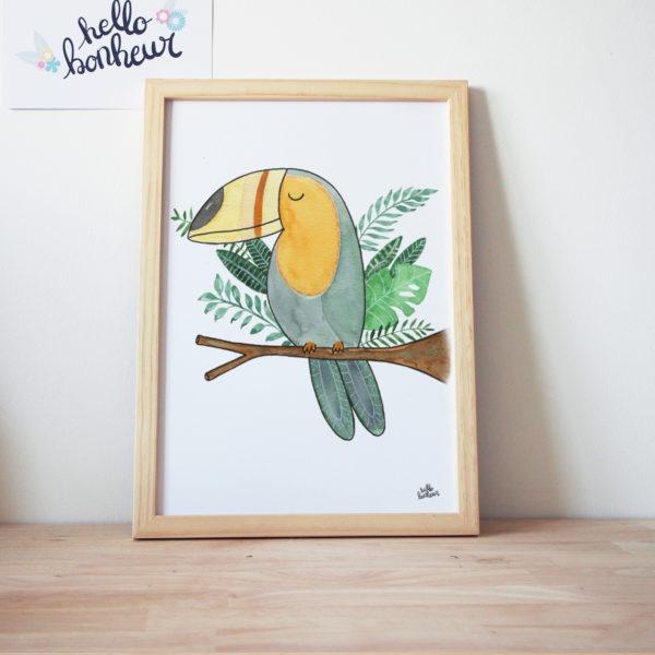 toucan simple aquarelle