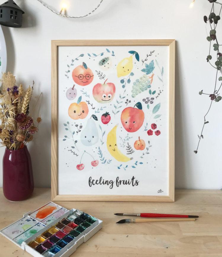 Affiches Feeling Fruits Aquarelle Affiche Vitaminée Pomme poire banane Mangue Abricot cerise Kiwi framboises....