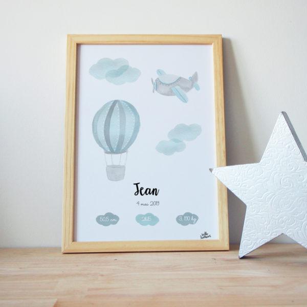 Tableau de naissance aquarelle bleu gros nuage avion montgolfière - Affiche bébé personnalisée