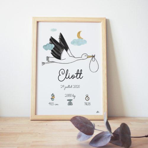 Cadre naissance cigogne tableau bébé prénom personnalisé gris bleu jaune oiseau